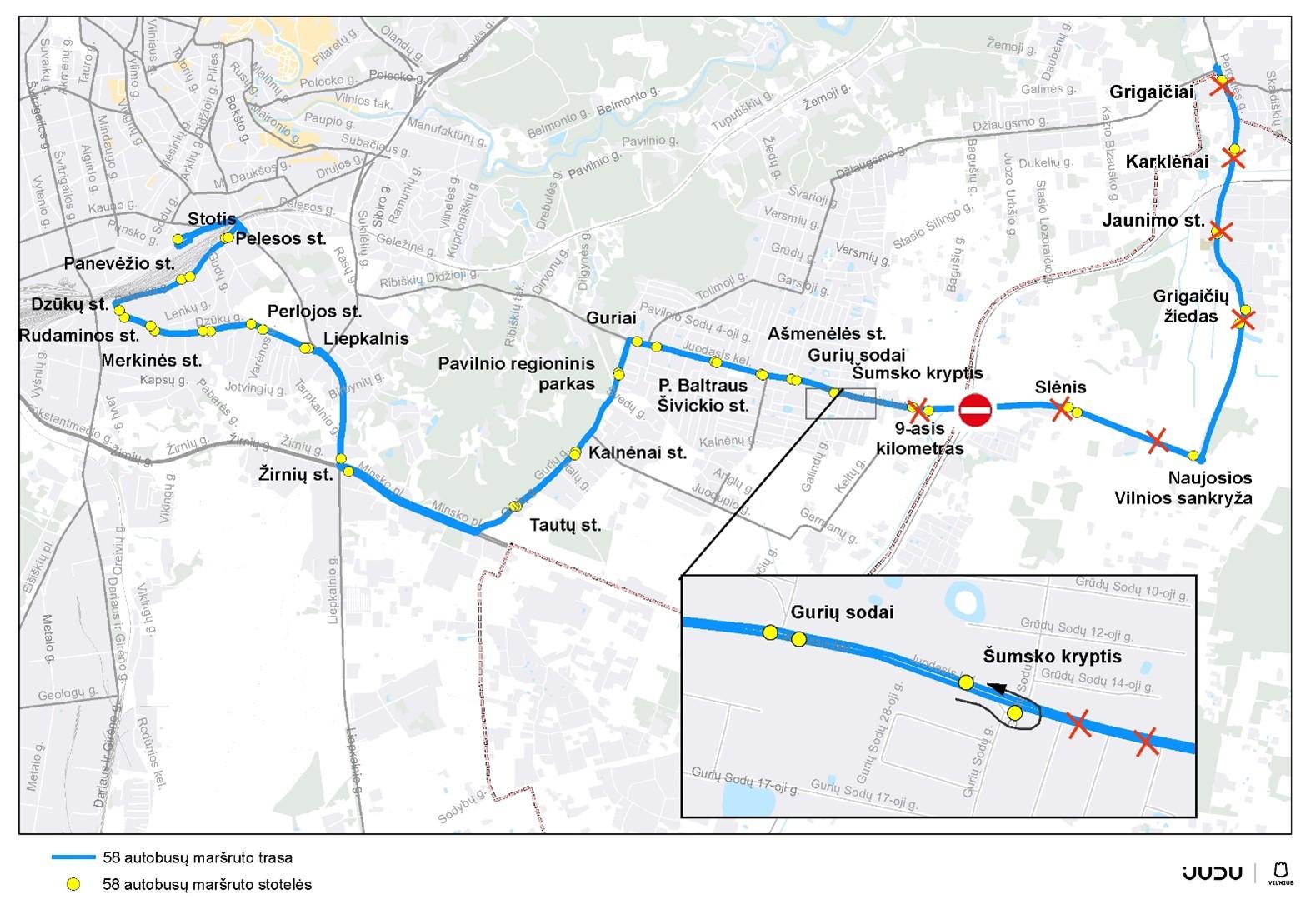 Liepos 30 d. keisis 58 maršruto autobusų eismo organizavimas